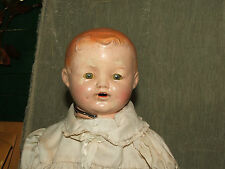 Antique Signed IDEAL Tin Sleepy Eyes Open Mouth Composition 1920's BABY DOLL