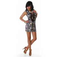 NEW SEXY GREY FLORAL MINI DRESS WITH ZIP SZ 8 10 12 PARTY/CLUB/CASUAL/EVENING