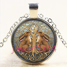 Celtic Rabbit Tree of Life Cabochon silver Glass Chain Pendant Necklace #3710