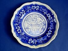 RARE ANTIQUE W.T.COPELAND & SONS ROBIN HOOD AND TINKER BLUE & WHITE PLATE 10.65""