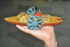 Vintage Wind Up Unique Litho Wheel Boat Tin Toy, England