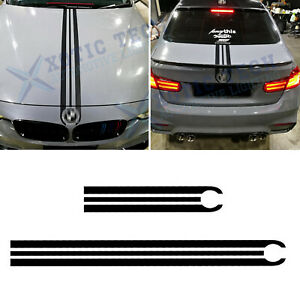 For BMW Black Front Hood Rear Trunk Sporty Strip Body Vinyl Cover Trim Stickers