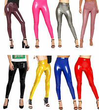 Women Ladies High Shine Vinyl PVC Wet Look Faux Leather  Legging Pants