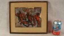 Jacob Landau Modern Abstract Human Figures W/C Painting