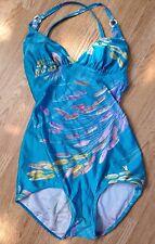 WOMENS FLORAL INDIE IBIZA NEON LEOTARD FESTIVAL SWIMMING COSTUME BODYSUIT 12-14