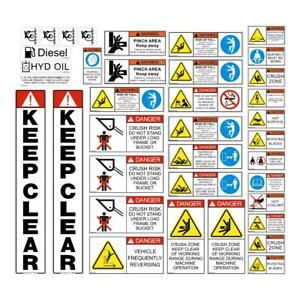 Skid Steer & Tracked Loader SAFETY DECALS STICKERS Bobcat Case CAT New Holland