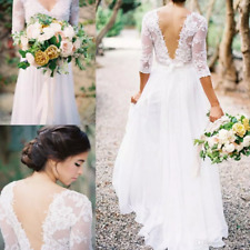 Boho Sheath Wedding Dress Sheer Long Sleeves V Neck Backless Country Bridal Gown
