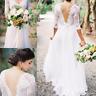 Boho Sheath Wedding Dress Sheer Long Sleeves V Neck Backless Country Bridal Gown