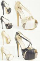 LADIES WOMENS NEW HIGH HEEL CUT OUT PLATFORM STILETTO PEEP TOE SHOES SIZE 3 - 8