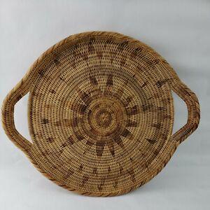 "Rattan Storage Tray 16"" Round Basket Handles Wicker Food Organizing, Wall Decor"