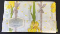 NIP Vintage WAMSUTTA Supercale Floral Twin Flat Sheet Yellow Tulips polka dots