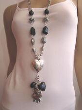 Modekette lang Damen Hals Kette Bettelkette Silber Schwarz Elefant Herz C045