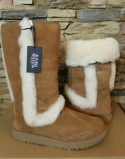 NIB UGG Women's Sundance Tall Suede Shearling Waterproof Boots Chestnut