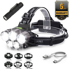 Rechargeable 90000LM 5X T6 LED Headlamp Headlight Light Flashlight Torch+Gift