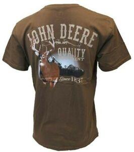 NEW John Deere Brown Quality Equipment Buck Scene on Back of T-Shirt M