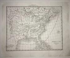 1846 Original United States Map Eastern Section Old Etats-Unis Us Usa French