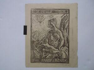 HENRY LAMB CAMDEN TOWN ARTIST ORIGINAL PRINT - XMAS GREETING 1932 - VERY SCARCE