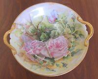 "Vintage Cabbage Rose Bush Painted Gold Double Handle 7.5"" Bowl Dish"