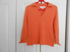 COLLECTION FIFTYNINE--CASHMERE V-NECK COLLARED PUMPKIN-ORANGE--SMALL