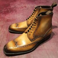 Handmade wingtip brogue boots men, men real leather ankle boot, tan shaded boot