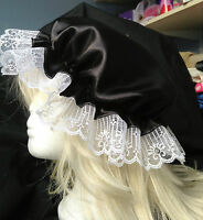 victorian  mop cap adult baby fancy dress satin bonnet cap hat black sissy maid