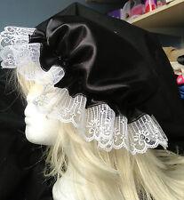 victorian  mop cap adult baby fancy dress satin bonnet cap hat black sissy maid