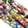 "16"" Strands Handmade Millefiori Glass Flat Round Beads Colorful Flower 6mm"