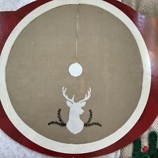 Holiday Living Deer Silhouette & Holly Tree Skirt Large 56� Wide Nwt