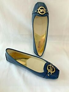 MICHAEL KORS Fulton Moc Navy Leather Ballet Flat Shoes Women's Size 11  NIB