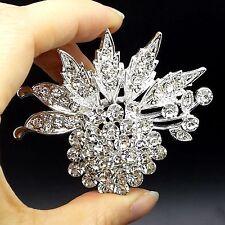 """Big 2.64"""" Alloy Sliver Rhinestone Crystal Brooch Pin Women DIY Wedding Bouquet"""
