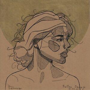 original drawing 20x20 cm 17SO samovar Illustration Art Mixed Media portrait
