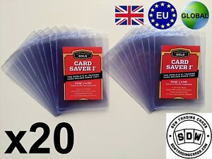NEW x 20 Cardboard Gold Card Saver I 1 PSA Grading Submission Plastic Semi Rigid