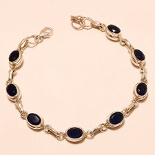 Ceylon Blue Sapphire Gemstone 925 Sterling Silver Bracelet Fine Ladies Jewelry