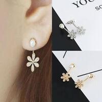 1 Pair Elegant Lady Rhinestone Crystal Flower Pearl Drop Dangle Ear Stud Earring