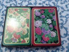 Caspari Playing Cards 2 Decks Elizabethan Garden Floral Made in Belgium VTG
