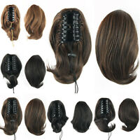 Short Straight Claw Clip In Hair Ponytail Hair Extension Buns With Drawstring