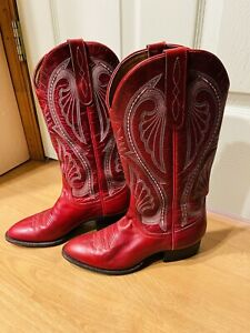 larry mahan womens cowboy boots red leather 7 USA made wow!!! EUC