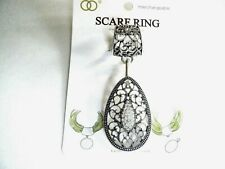 Silver Tone Metal Clear Stones New Scarf Ring Detachable Tear Drop Pendant