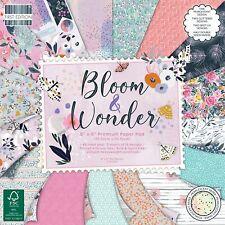 "8"" x 8"" 48 Sheet Full Pad BLOOM & WONDER Card Making Scrapbook Craft Paper"