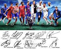 2019 Champions League Signed Photo Autograph Reprint Messi Ronaldo Felix Salah