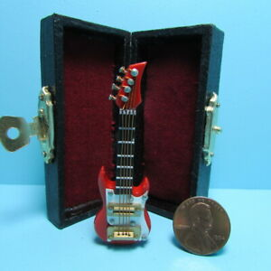 Dollhouse Miniature Electric Guitar in Red with Case MM603R