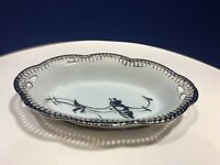 VTG Bavaria Schumann Reticulated Pierced Edge Oval Bowl Dish Porcelain & Silver