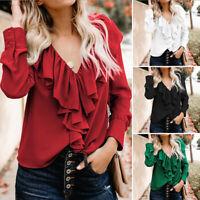 UK Women OL Office Long Sleeve Tops Pullover V Neck Ruffled Shirt Blouse Plus