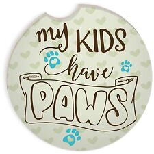 My Kids Have Paws Car Coaster New Paw Prints Auto Drink Holder Green Cats