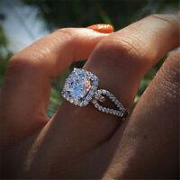 Luxury Round Cut 2ct White Sapphire Engagement Ring 925 Silver Wedding Jewelry