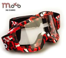 MOTO ADULTS X2 CAMO RED MOTOCROSS ATV ENDURO QUAD BIKE OFF ROAD TRCK RACE GOGGLE