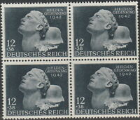 Stamp Germany Mi 812 Sc B202 Block 1942 WWII Third Reich Heroes Remembrance MNH