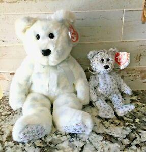 "Lot of 2 TY Beanie Buddy & Babies January 2000 ""The Beginning Bear"" 8.5"" & 14"""