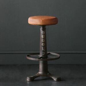 Singer Bar Stool Tan Seat with Metal Base 67 cm Industrial Kitchen Breakfast