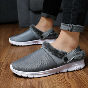 Mens Fashion Mules Chunky Fur Lined Slippers Warm Leather Sandals Clogs Shoes